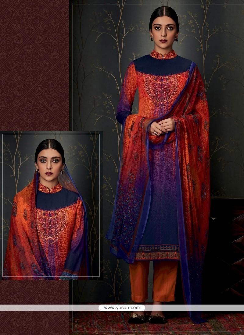 Trendy Print Work Designer Straight Salwar Suit