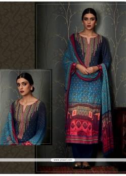 Thrilling Multi Colour Print Work Designer Straight Salwar Kameez