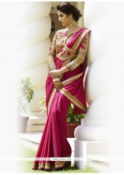 Remarkable Faux Chiffon Magenta Embroidered Work Designer Traditional Sarees