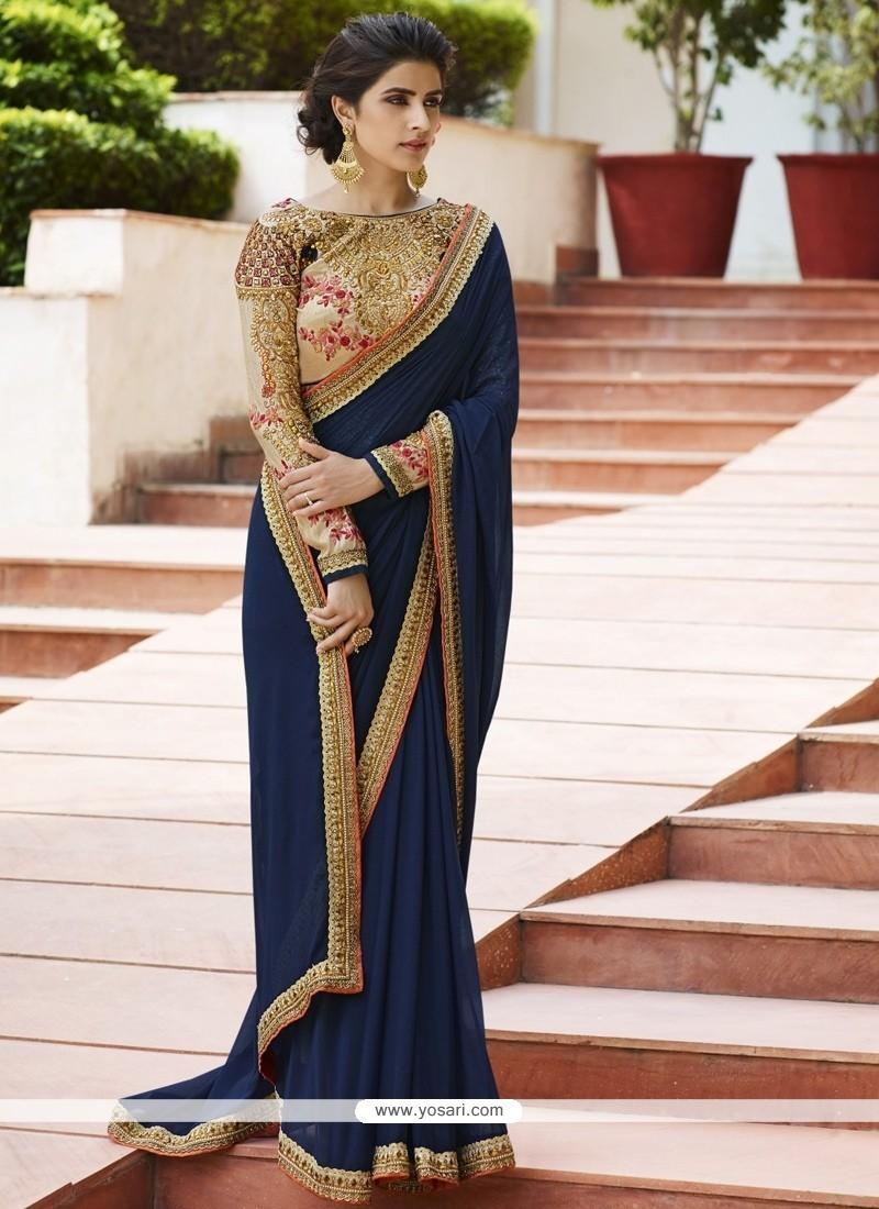 Entrancing Navy Blue Classic Designer Saree