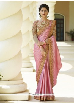 Striking Embroidered Work Pink Trendy Saree