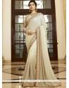 Trendy Faux Chiffon Beige Designer Traditional Sarees