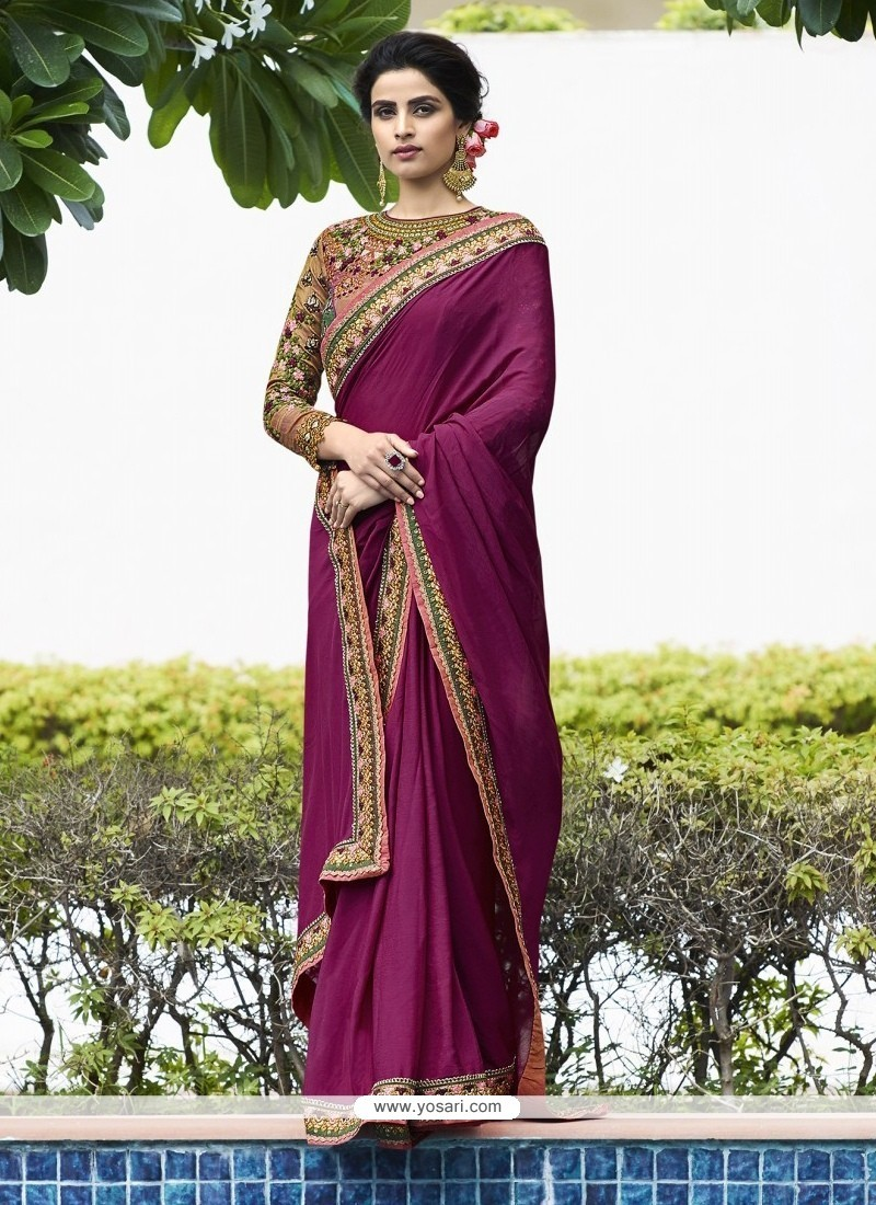 Perfervid Fancy Fabric Purple Classic Designer Saree