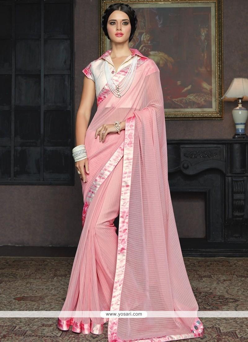 Elite Pink Embroidered Work Designer Traditional Sarees