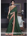 Resplendent Green Patch Border Work Fancy Fabric Traditional Saree