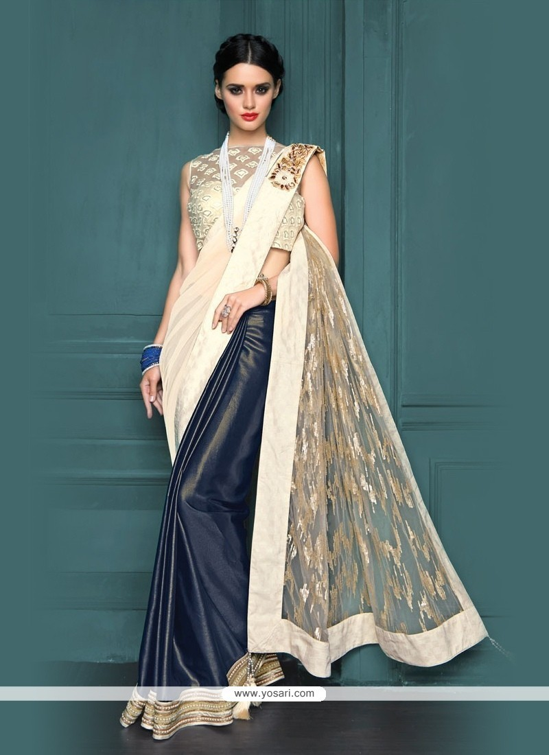 Buy Girlish Embroidered Work Net Designer Traditional Sarees ...