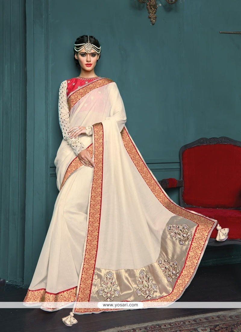 Bedazzling Fancy Fabric Off White Designer Traditional Sarees