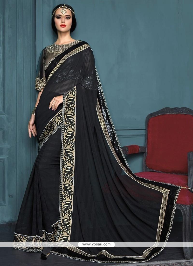 Divine Black Patch Border Work Designer Traditional Sarees