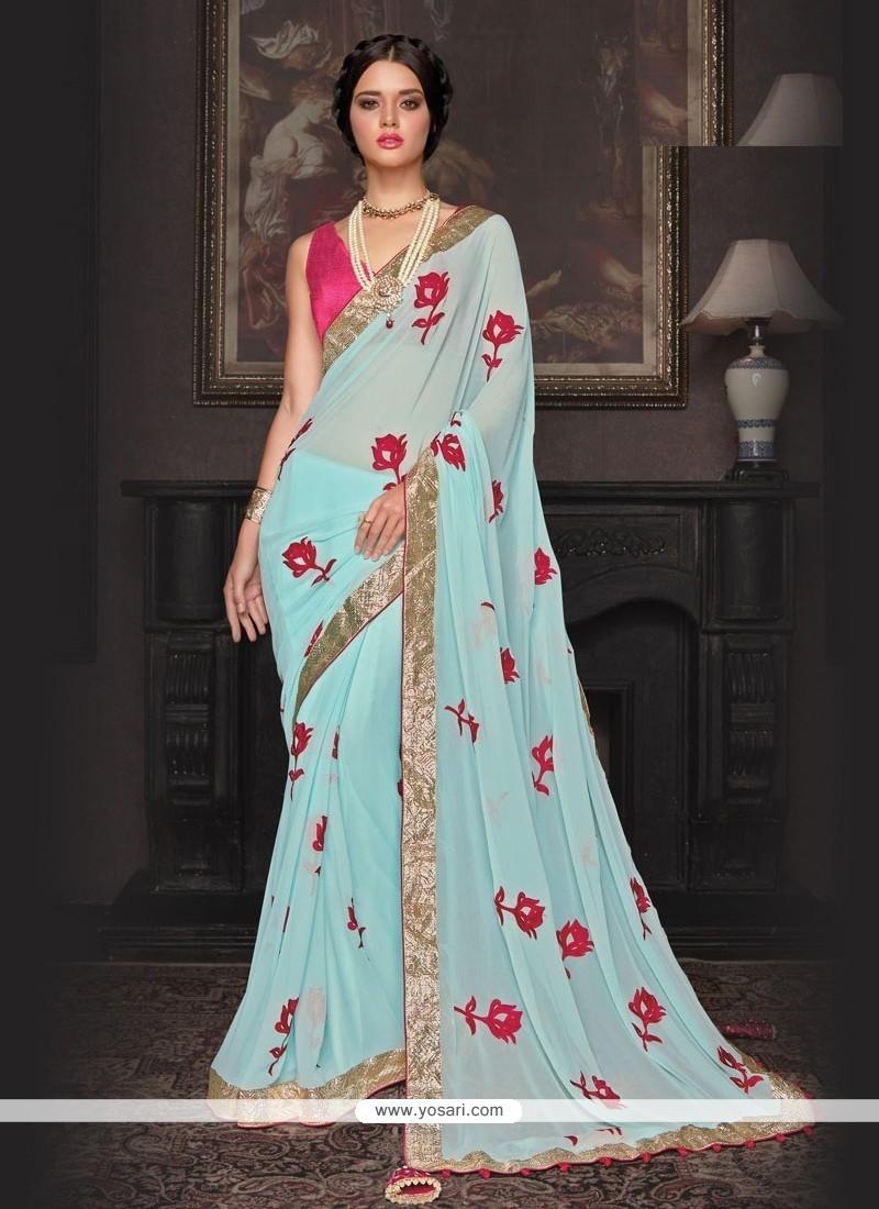 Buy Amusing Georgette Patch Border Work Trendy Saree   Wedding Sarees