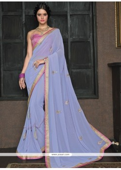 Topnotch Blue Embroidered Work Classic Saree