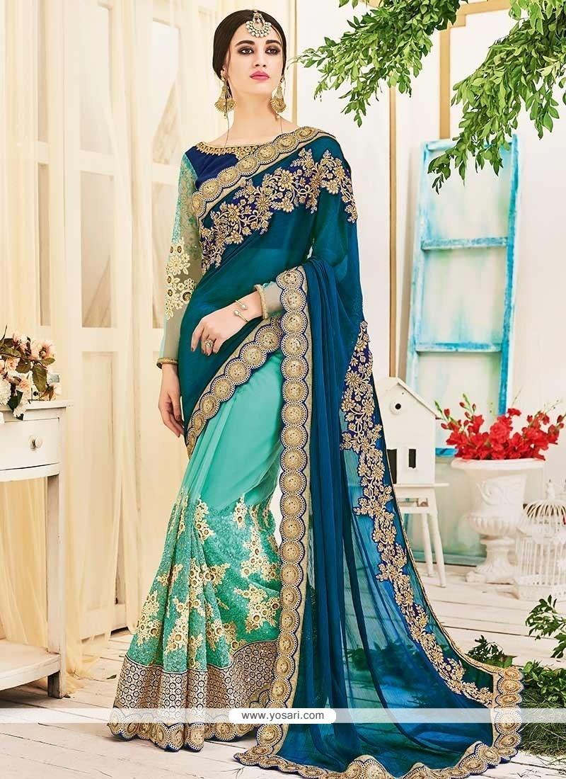 Royal Green Half N Half Saree