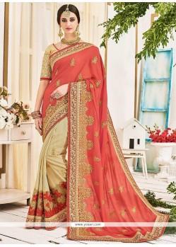 Marvelous Embroidered Work Designer Half N Half Saree