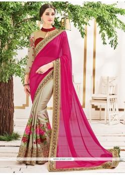 Sunshine Patch Border Work Beige And Hot Pink Faux Chiffon Half N Half Designer Saree