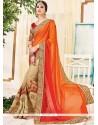 Piquant Beige And Orange Designer Half N Half Saree