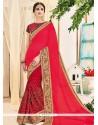 Trendy Georgette Hot Pink Designer Saree