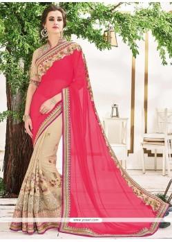 Sorcerous Lace Work Georgette Designer Half N Half Saree