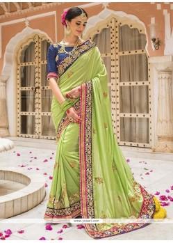 Patch Border Silk Designer Saree In Green