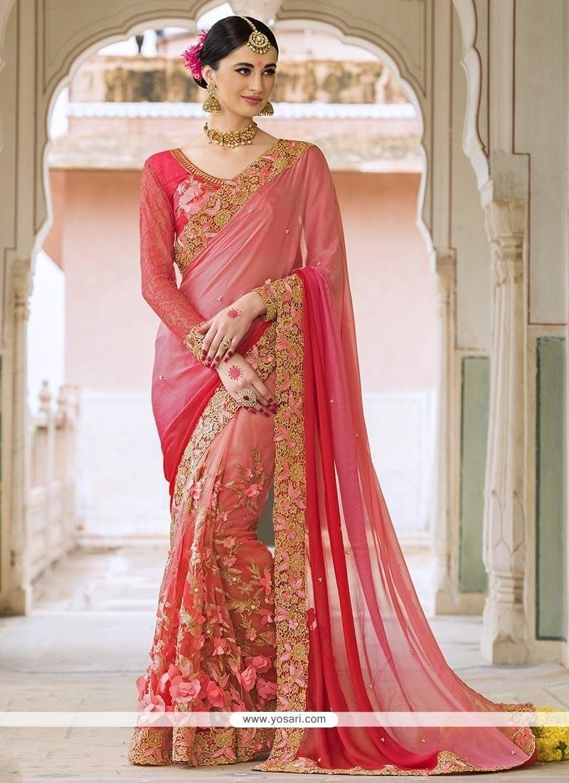 Pleasance Pink Patch Border Work Designer Saree