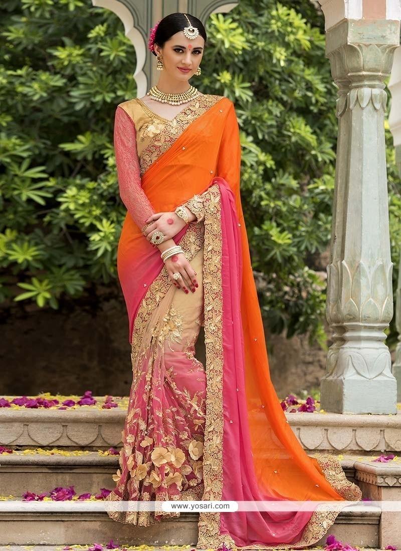Royal Embroidered Work Silk Designer Saree