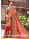 Red Patch Border Work Silk Designer Saree