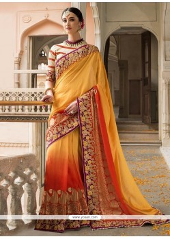 Distinctive Silk Orange Designer Saree