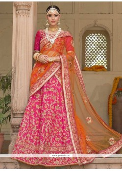 Ravishing Embroidered Work Hot Pink Banglori Silk Lehenga Saree