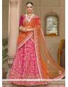 Ravishing Embroidered Work Hot Pink Banglori Silk Lehenga Saree