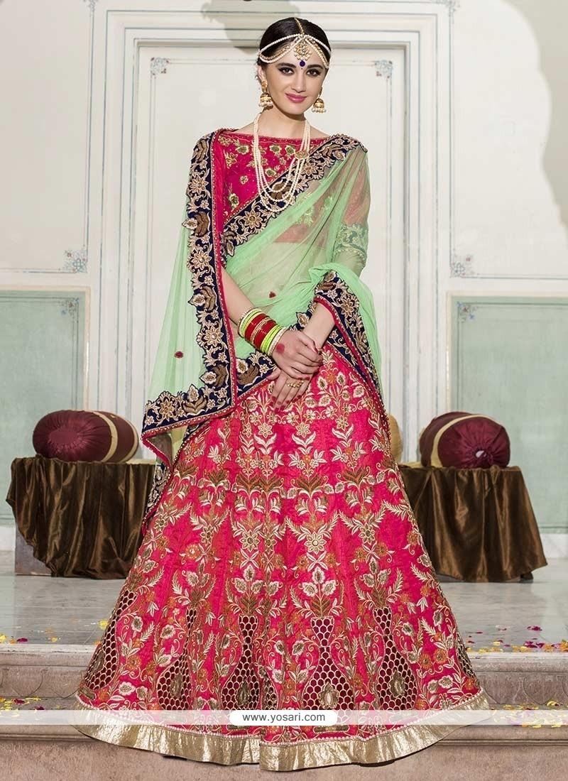 Vibrant Hot Pink Resham Work Banglori Silk Lehenga Saree