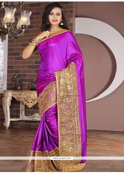 Captivating Tissue Purple Zari Work Designer Saree