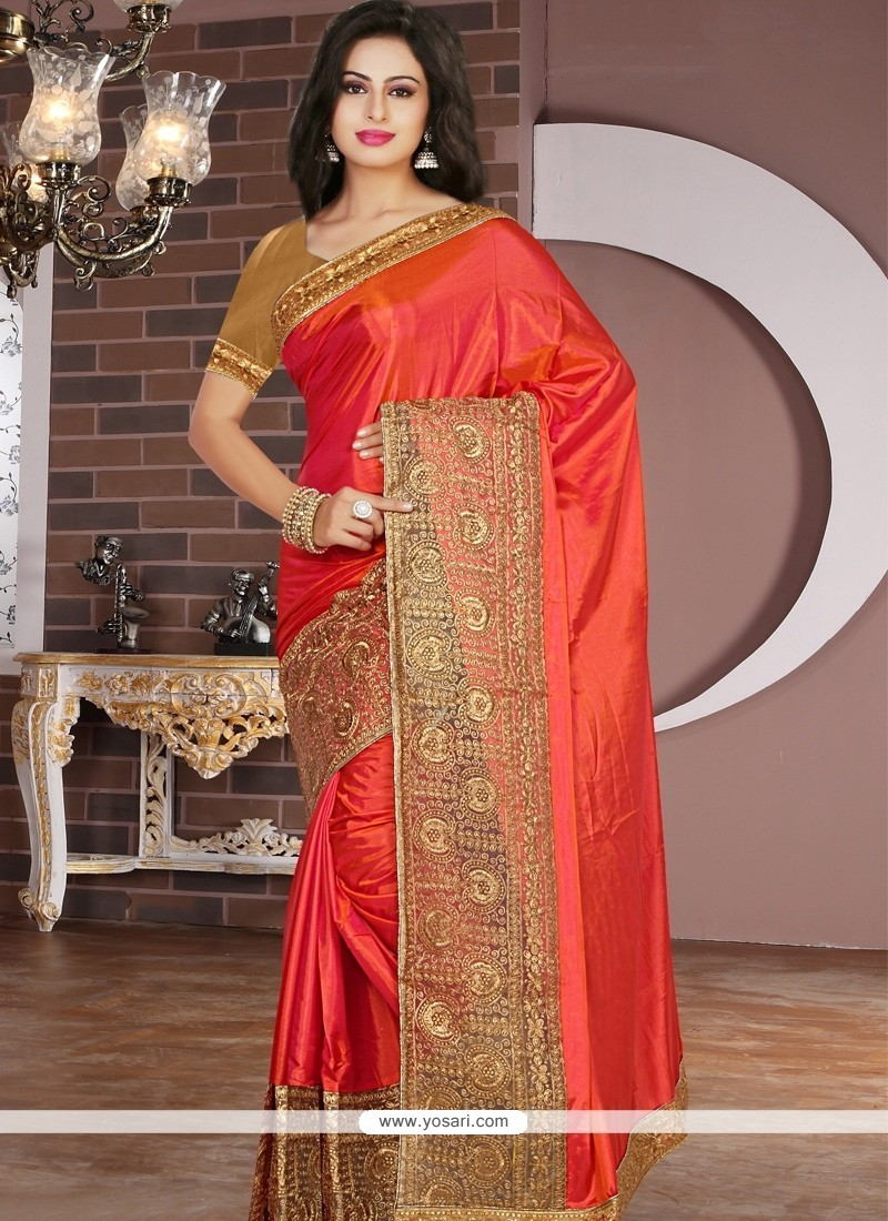 d6b3e1ee18 Buy Blissful Silk Orange Designer Saree | Designer Sarees