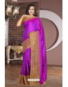 Purple Lace Work Silk Designer Saree