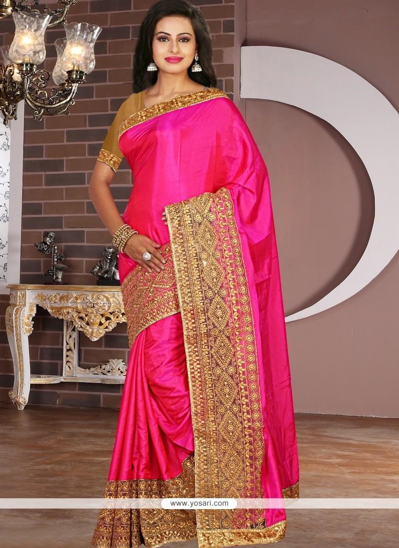 Sonorous Tissue Hot Pink Designer Saree