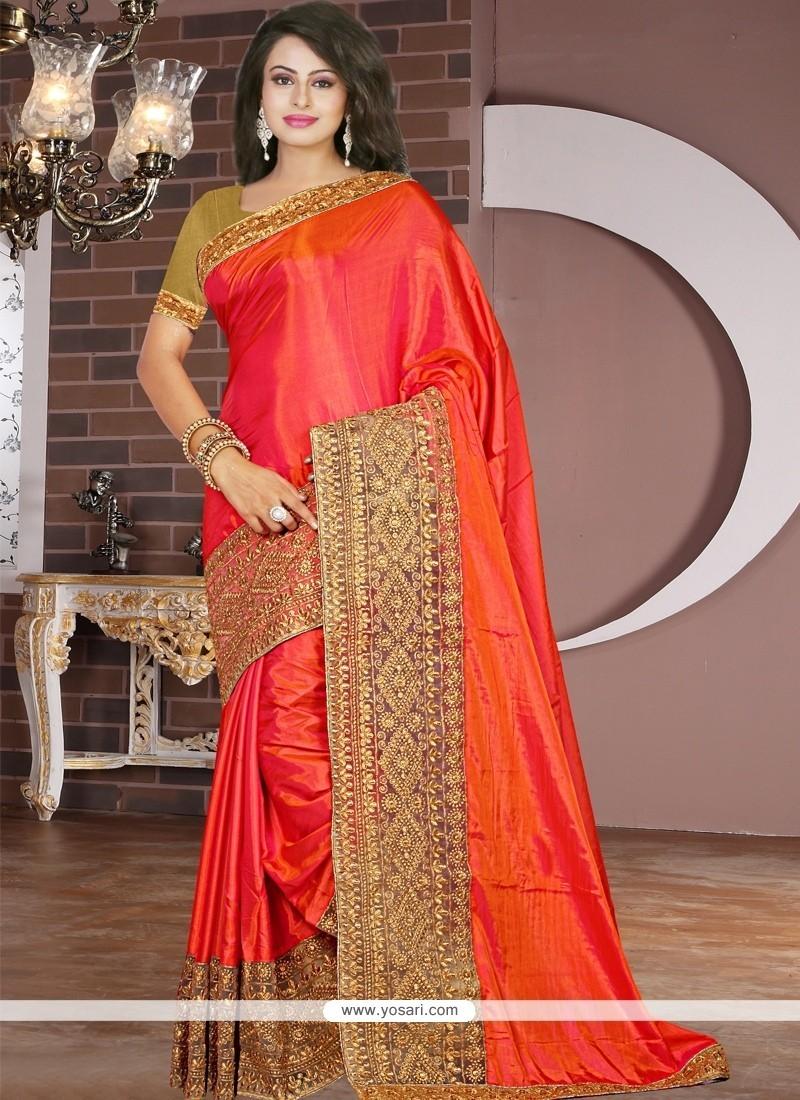 Modernistic Tissue Orange Designer Saree