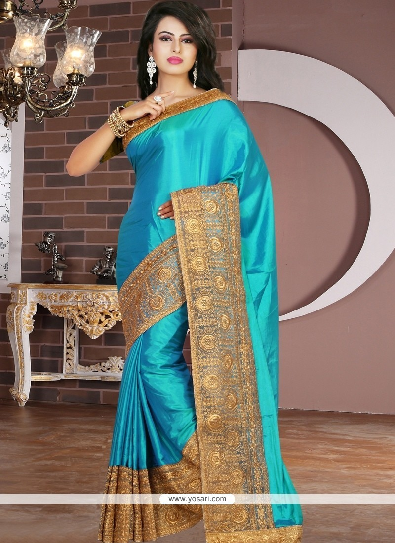 Turquoise Embroidered Work Tissue Designer Saree