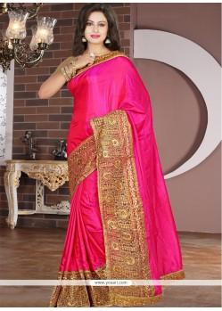 Mystical Embroidered Work Hot Pink Silk Designer Saree