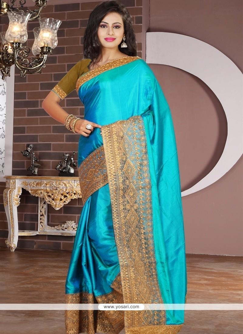 Sunshine Tissue Turquoise Designer Saree