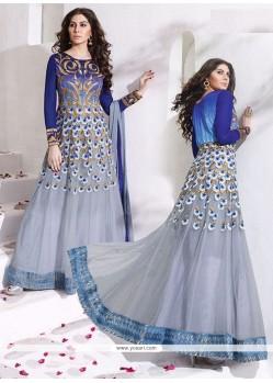 Congenial Lace Work Grey Net Anarkali Salwar Suit