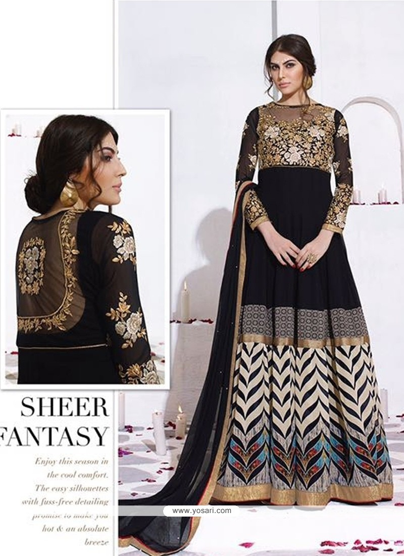 Conspicuous Digital Print Work Black Anarkali Salwar Suit