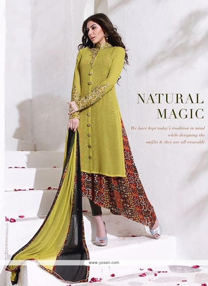Radiant Embroidered Work Green Designer Salwar Kameez