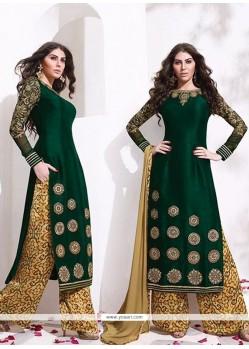 Exuberant Raw Silk Zari Work Designer Palazzo Salwar Suit