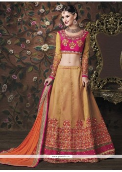 Prime Beige And Pink Patch Border Work Banarasi Silk A Line Lehenga Choli