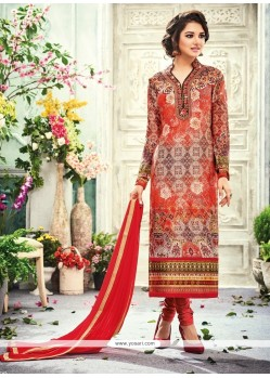 Whimsical Red Churidar Designer Suit
