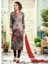 Genius Crepe Silk Print Work Churidar Designer Suit