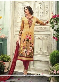 Cute Print Work Crepe Silk Churidar Designer Suit