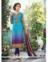 Stupendous Multi Colour Embroidered Work Crepe Silk Churidar Designer Suit