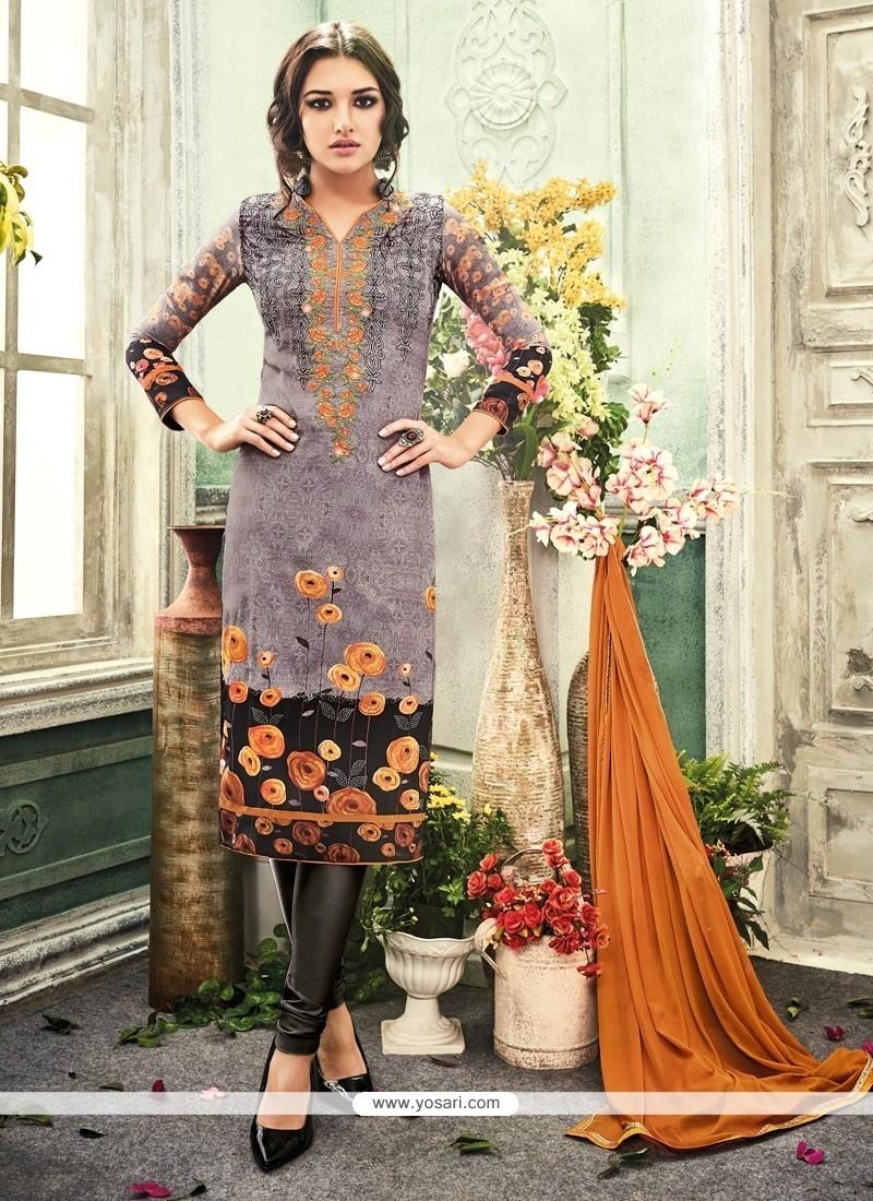 Gilded Print Work Multi Colour Crepe Silk Churidar Designer Suit