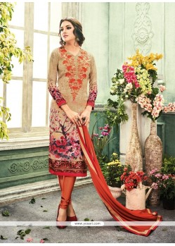 Radiant Crepe Silk Embroidered Work Churidar Designer Suit