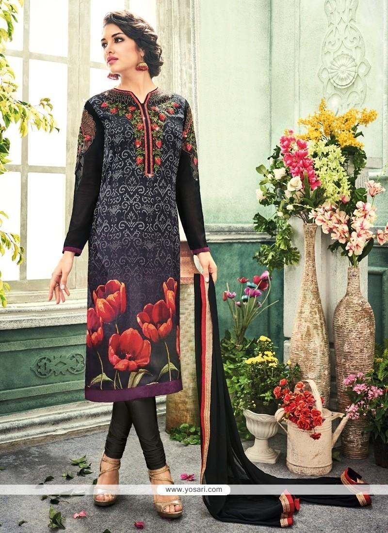 Flawless Embroidered Work Black Churidar Designer Suit