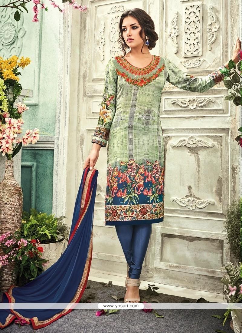 Dilettante Print Work Crepe Silk Churidar Designer Suit