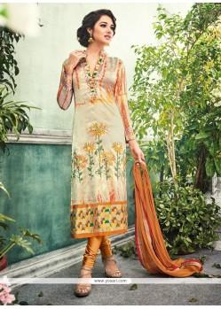 Chic Embroidered Work Multi Colour Crepe Silk Churidar Designer Suit